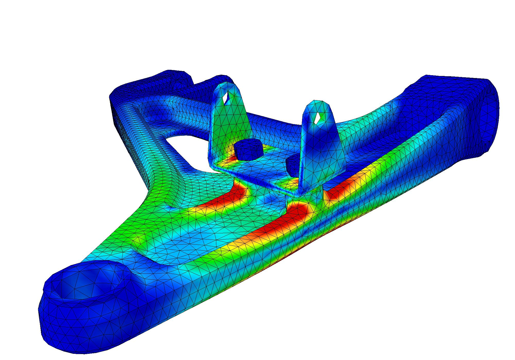 SIMULIA sample of static analysis for a control arm stress